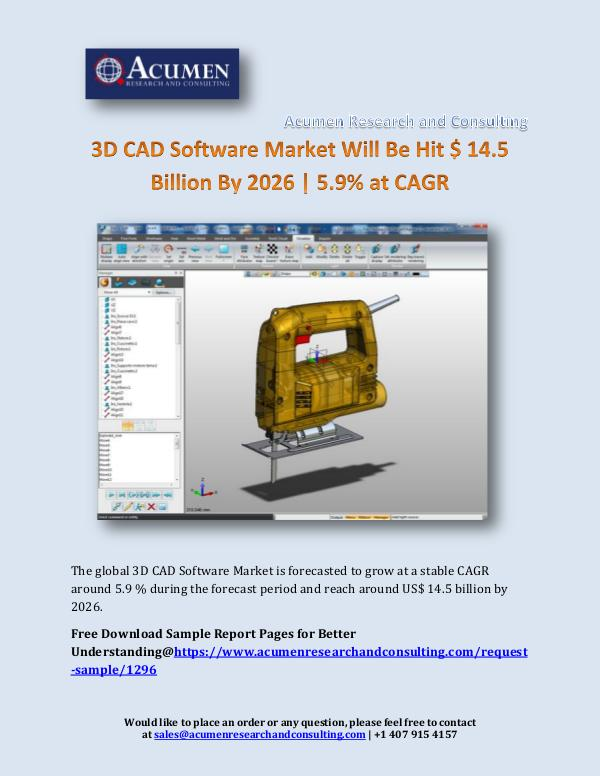 Acumen Research and Consulting 3D CAD Software Market Will Be Hit $ 14.5 Billion
