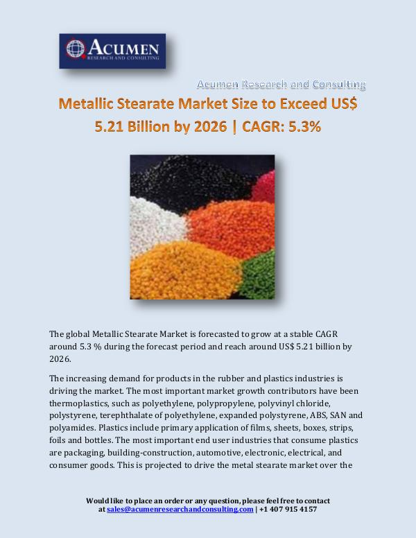 Metallic Stearate Market Size to Exceed US$ 5.21 B