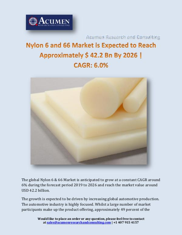 Nylon 6 and 66 Market is Expected to Reach Approxi