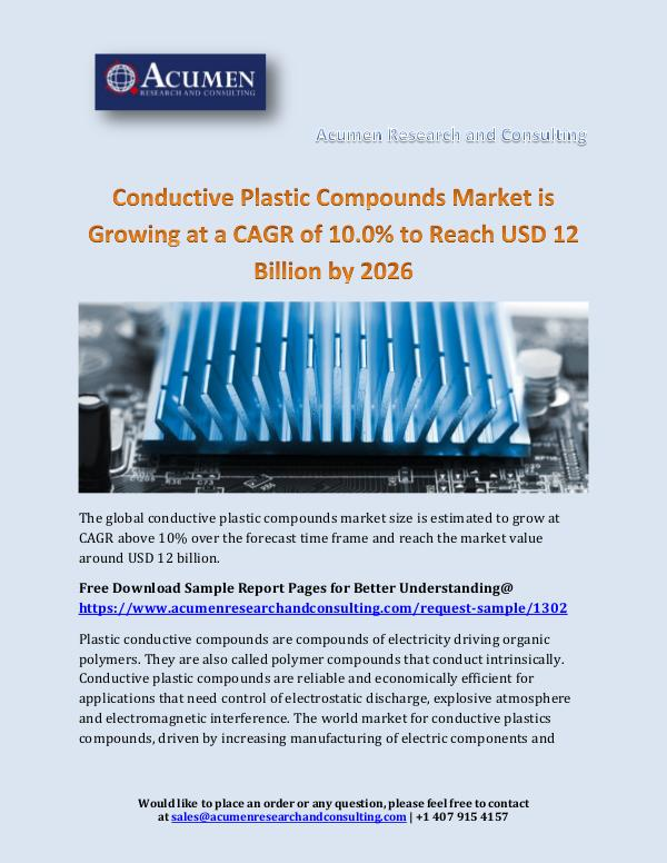 Conductive Plastic Compounds Market is Growing at