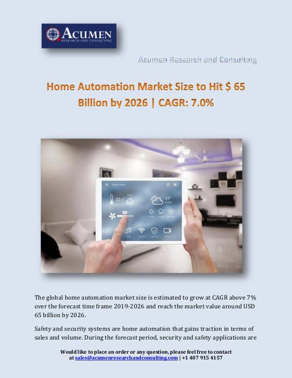 Home Automation Market Size to Hit $ 65 Billion by
