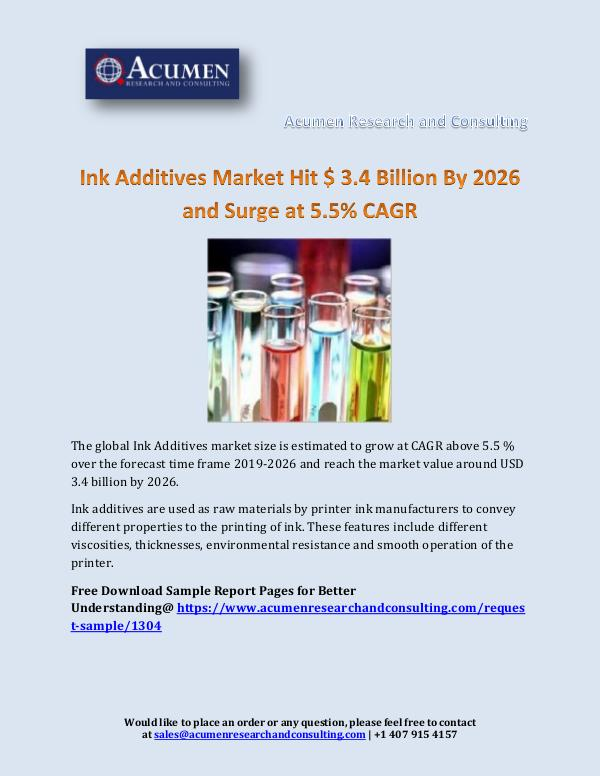Ink Additives Market Hit $ 3.4 Billion By 2026 and