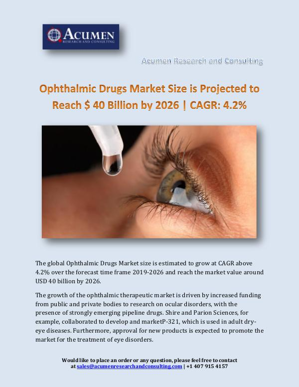 Acumen Research and Consulting Ophthalmic Drugs Market