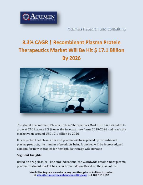 Recombinant Plasma Protein Therapeutics Market