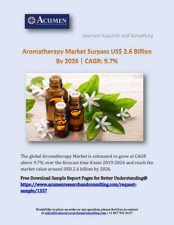 Aromatherapy Market Surpass US$ 2.6 Billion By 202