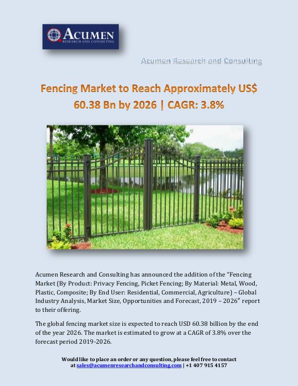 Fencing Market to Reach Approximately US$ 60.38 Bn
