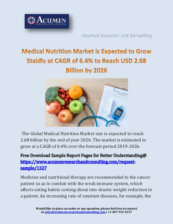 Medical Nutrition Market is Expected to Grow Staid