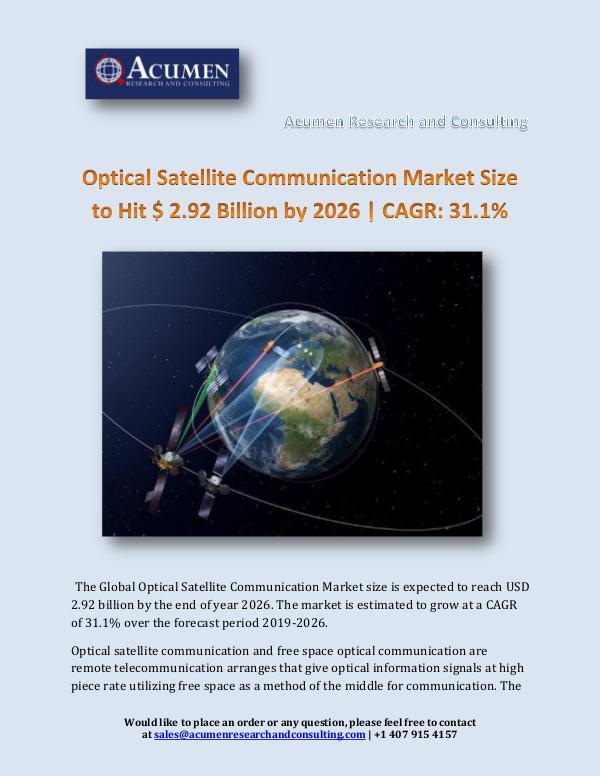 Optical Satellite Communication Market Size to Hit