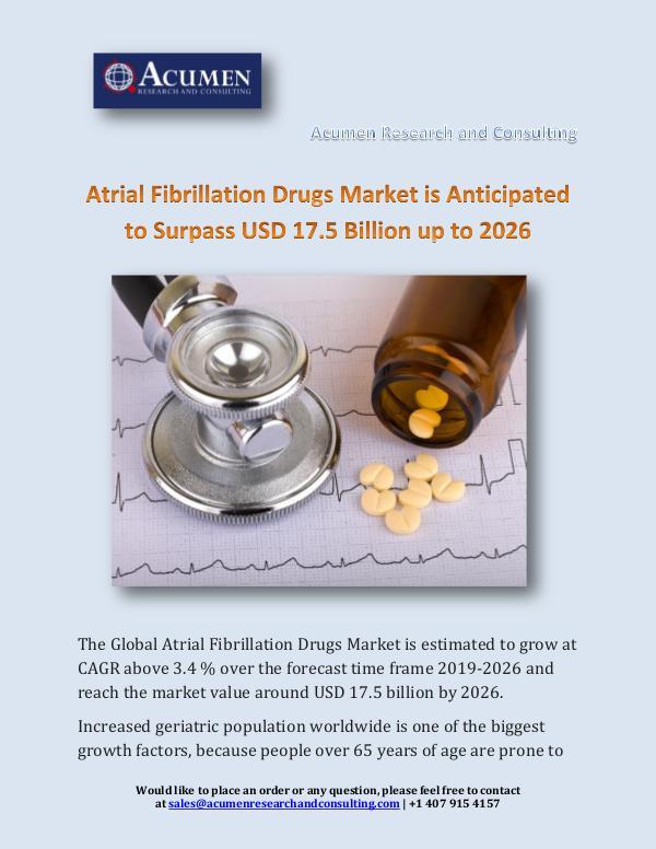 Atrial Fibrillation Drugs Market is Anticipated to