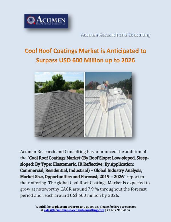Cool Roof Coatings Market is Anticipated to Surpas