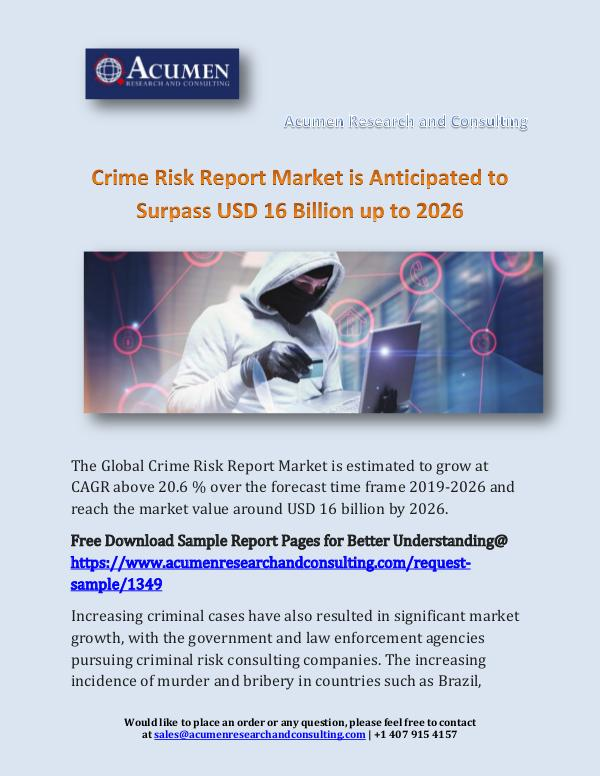 Crime Risk Report Market is Anticipated to Surpass