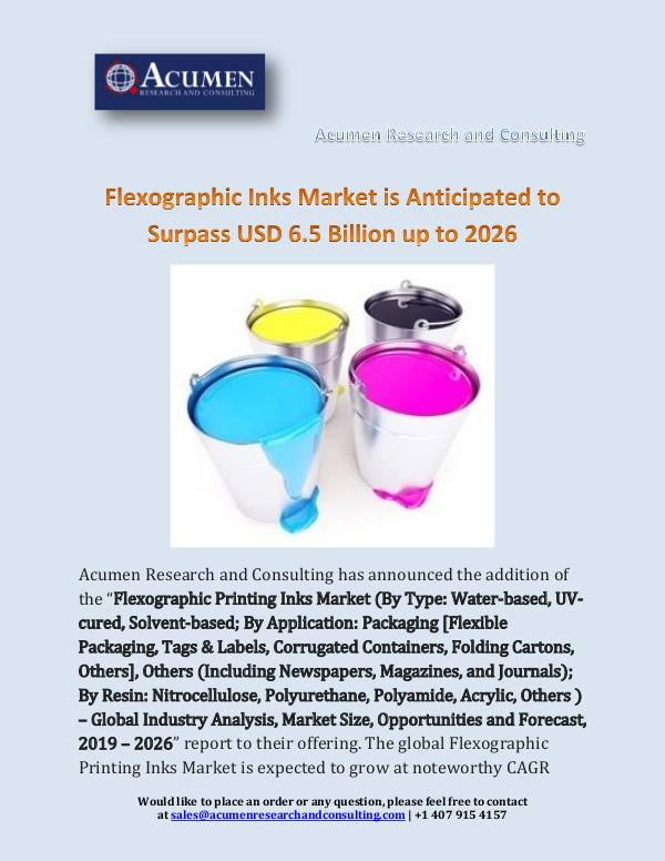 Flexographic Inks Market is Anticipated to Surpass