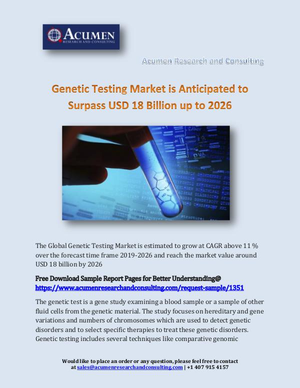 Genetic Testing Market is Anticipated to Surpass U