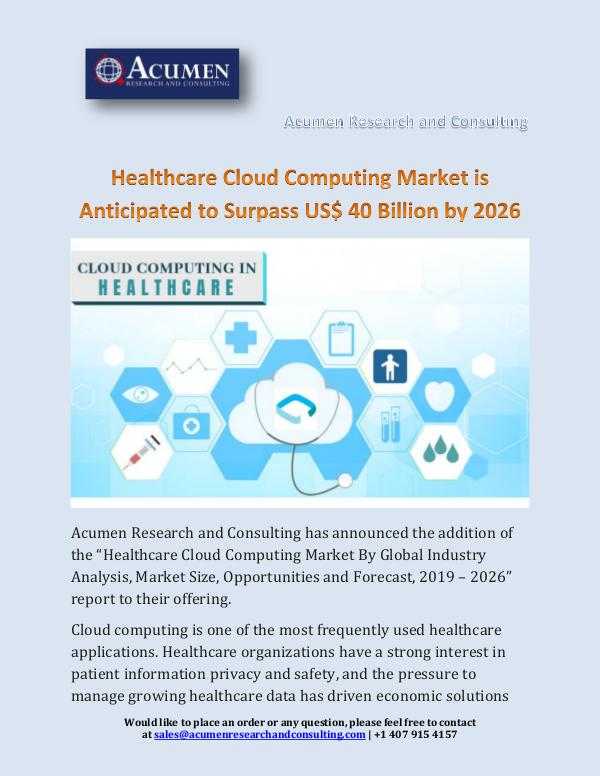 Healthcare Cloud Computing Market is Anticipated t