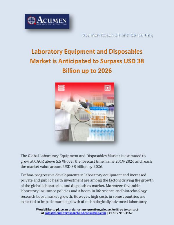 Acumen Research and Consulting Laboratory Equipment and Disposables Market is Ant