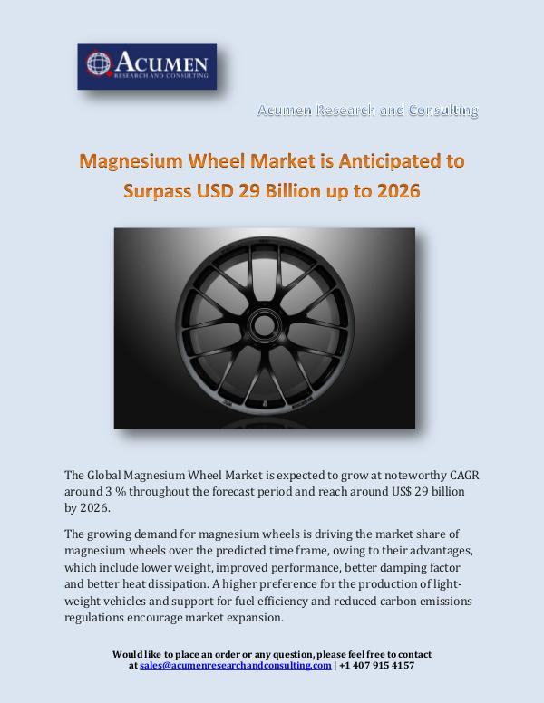 Magnesium Wheel Market is Anticipated to Surpass U
