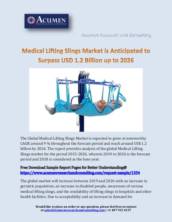 Medical Lifting Slings Market is Anticipated to Su