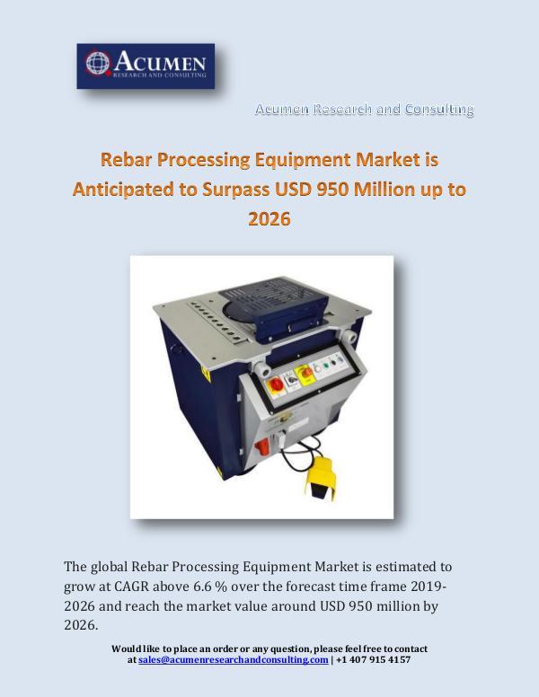 Rebar Processing Equipment Market is Anticipated t