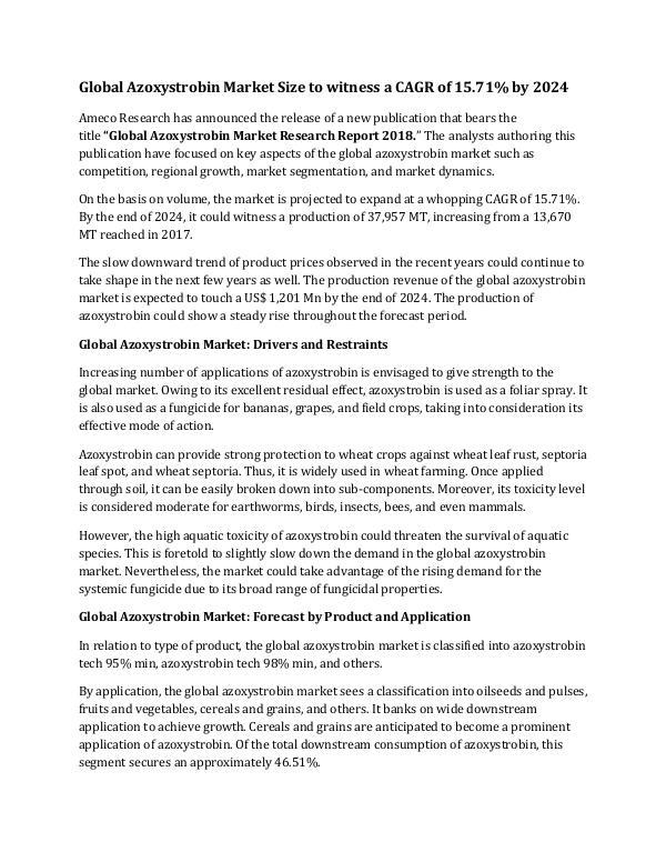 Global Azoxystrobin Market Size to witness a CAGR of 15.71% by 2024 Global Azoxystrobin Market