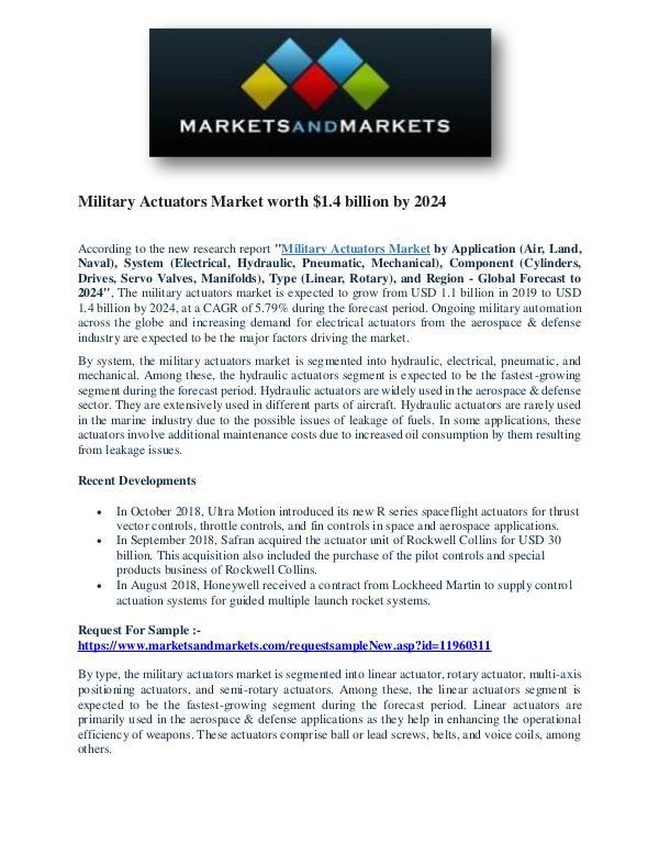 Military Actuators Market worth $1.4 billion by 2024 Military Actuators Market