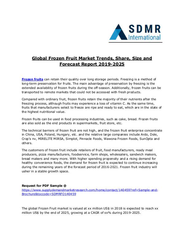 Global Frozen Fruit Market Trends, Size and Forecast Report 2025 Frozen fruits