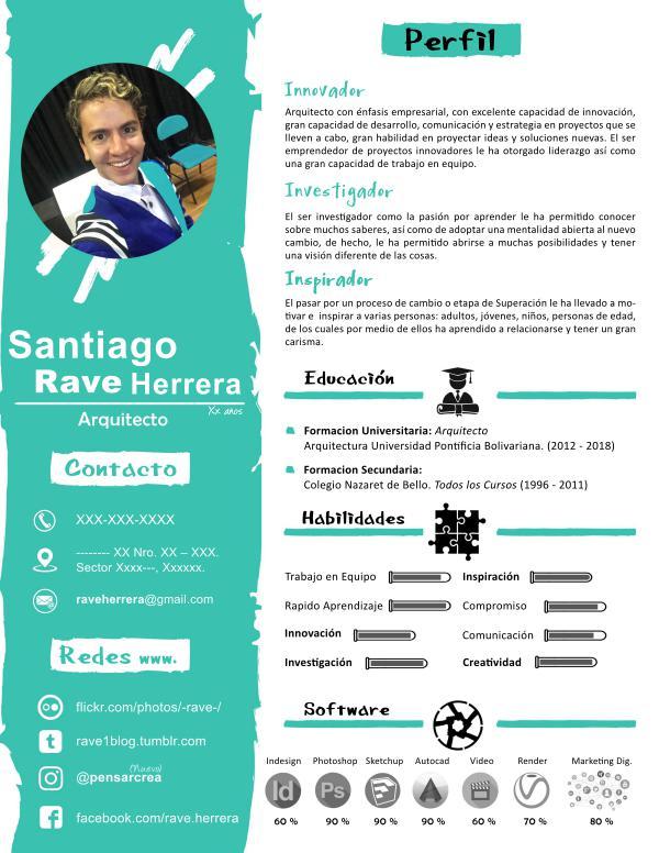 """Diseño Hoja De Vida """"Rave"""" :) :) Hoja de Vida Rave"""
