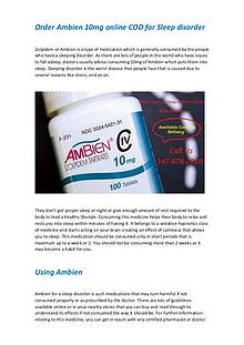 Order Ambien 10mg online COD for Sleep disorder