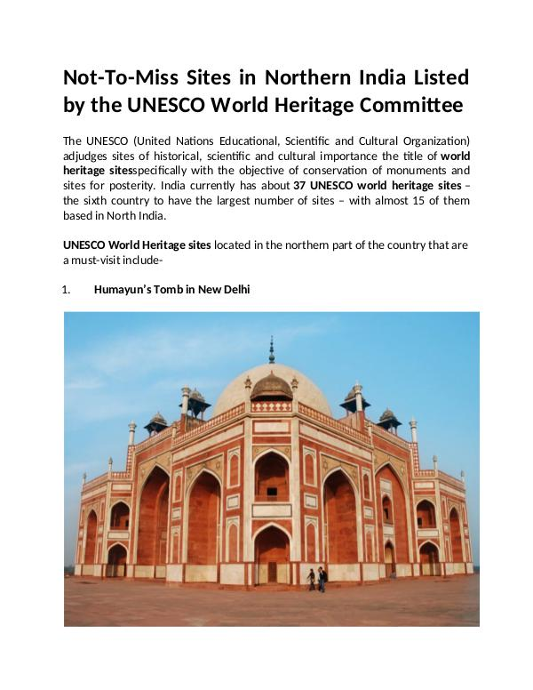 Sites in Northern India Listed by the UNESCO World Heritage Committee Sites in Northern India Listed by the UNESCO World
