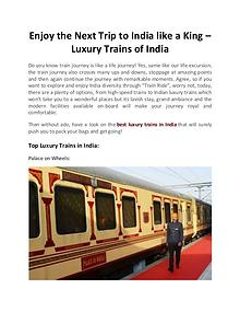 Enjoy the Next Trip to India like a King in Luxury Trains of India