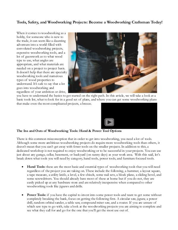 Tools, Safety, And Woodwork Projects: Become A Woodworking Craftsman Tools, Safety, And Woodwork Projects
