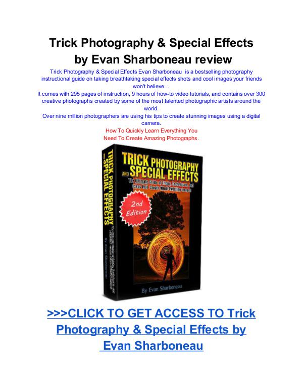 Trick Photography & Special Effects  by Evan Sharboneau Trick Photography Special Effects pdf download