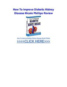 How To Improve Diabetic Kidney Disease Nicole Phillips
