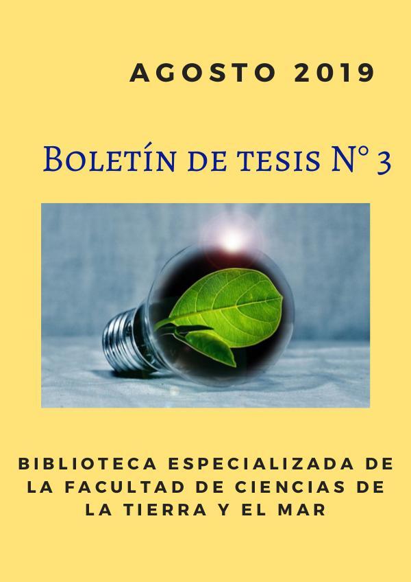 Boletín de tesis N° 3 BCTM Boletín N. 3 _ Agosto 2019