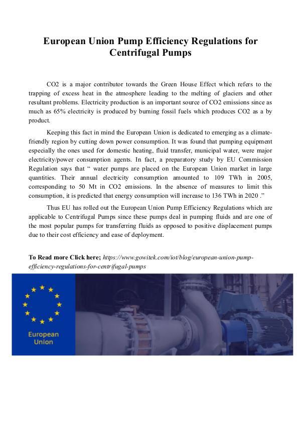 Gowitek European Union Pump Efficiency Regulations