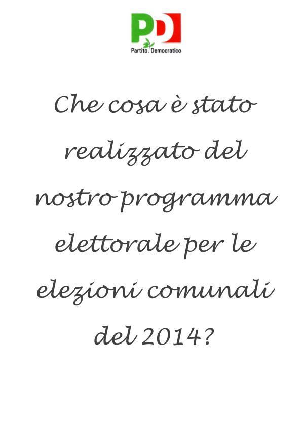 Programma PD 2014 REALIZZAZIONE PROGRAMMA PD 2014