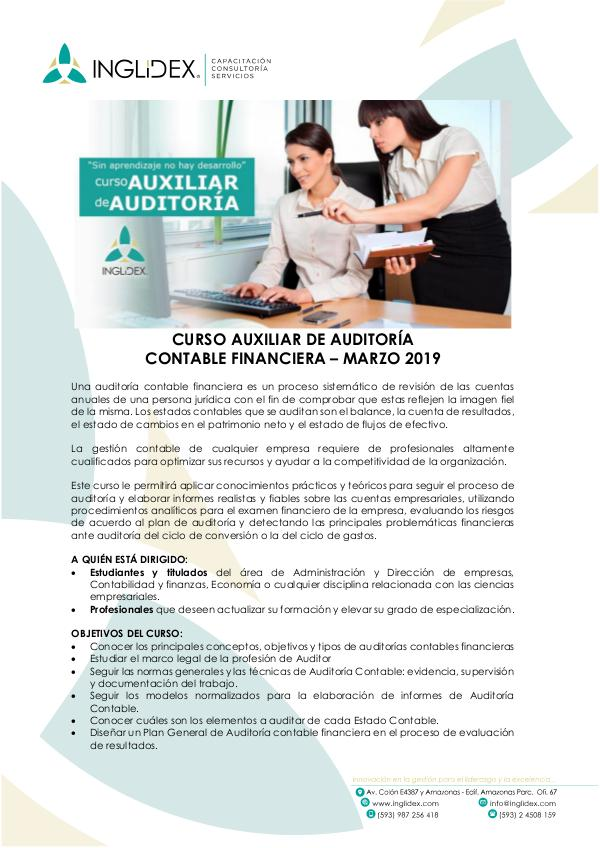 Curso Auxiliar de Auditoría Contable Financiera Curso Auxiliar Auditoria Contable