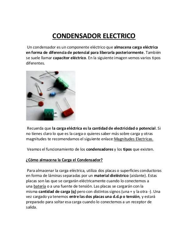 Condensadores, tipos y diodos Darwin