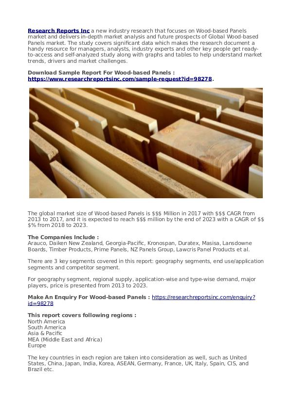 Business Research Reports 2019 Wood-based Panels Report 2023