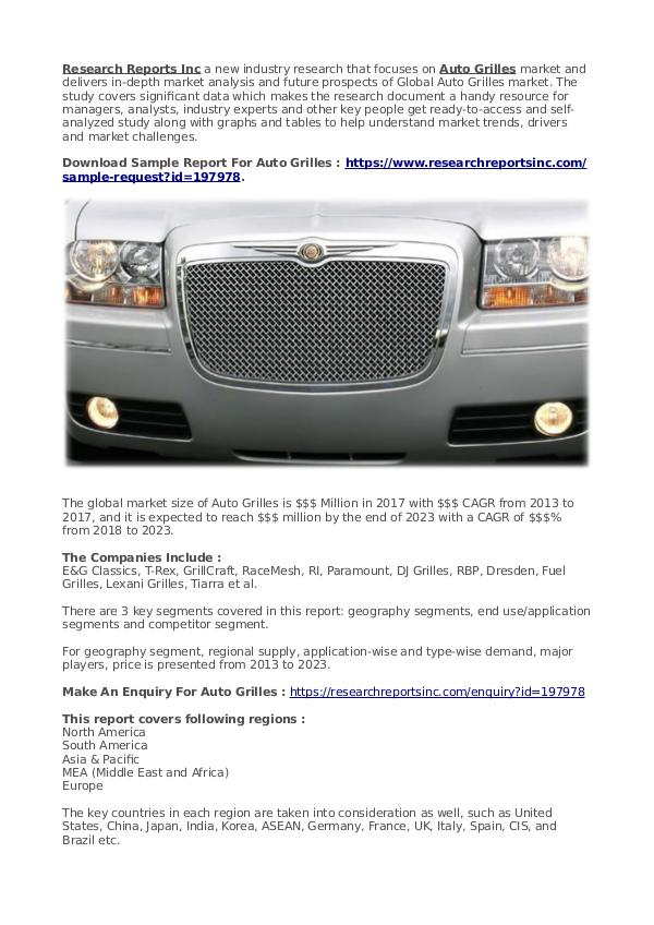 Business Research Reports 2019 Auto Grilles