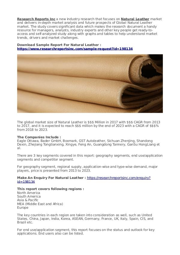 Business Research Reports 2019 Natural Leather