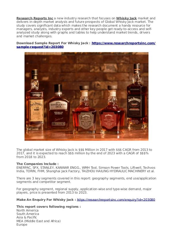 Business Research Reports 2019 Whisky Jack