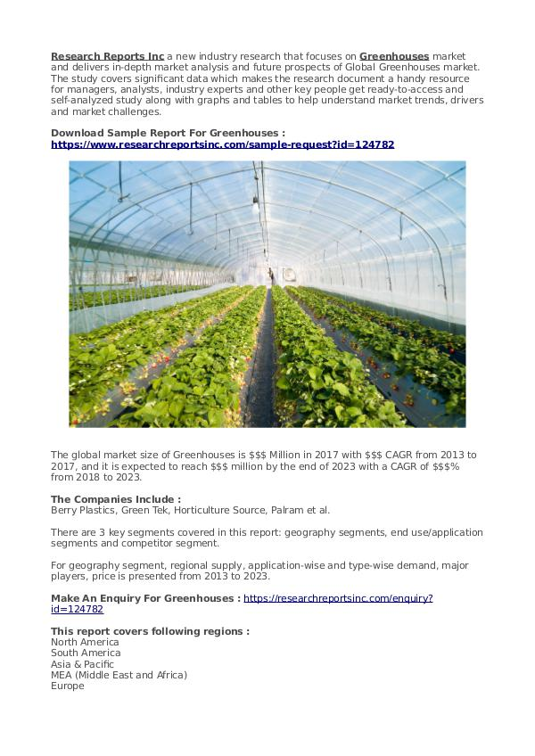 Business Research Reports 2019 Greenhouses