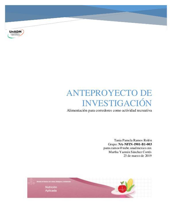 Alimentación para corredores como actividad recreativa FIN_U5_EA_TARR_anteproyectodeinvestigacion