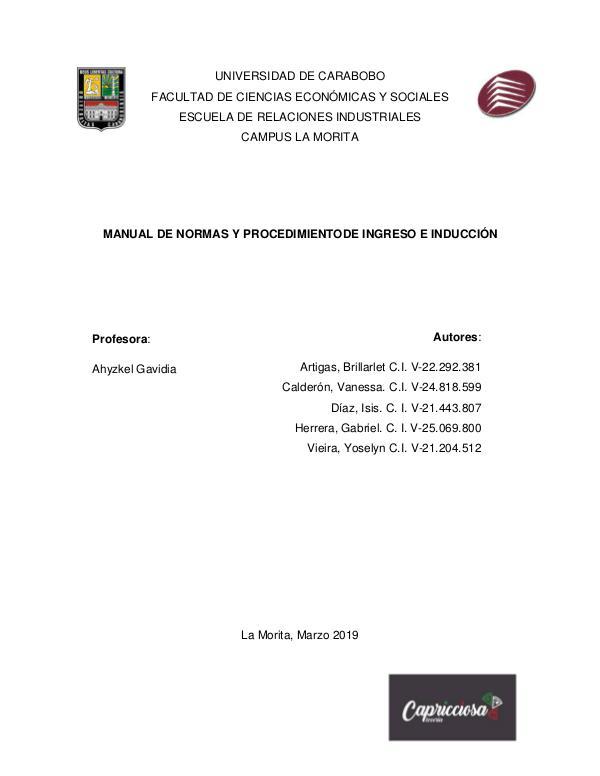 Capricciosa MANUAL DE INDUCCIÓN
