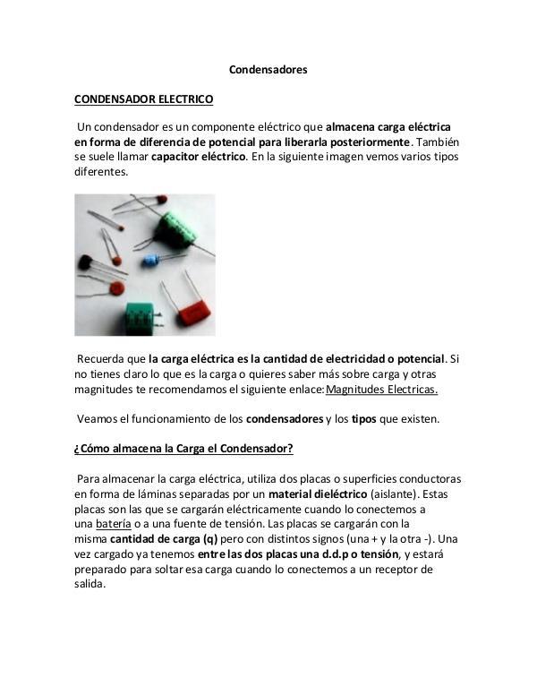 Condensadores y Diodos Condensadores