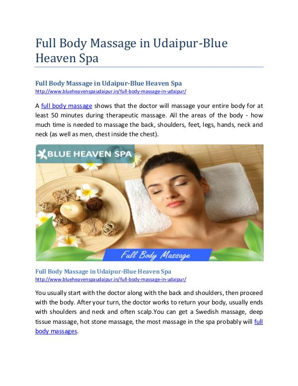 Blue Haven Spa Full Body Massage in Udaipur-Blue Heaven Spa