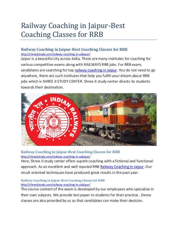 Railway Coaching in Jaipur-Best Coaching Classes f
