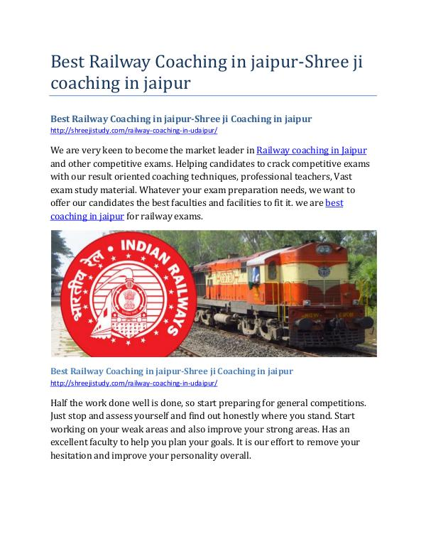 Best Railway Coaching in jaipur-Shree ji Coaching