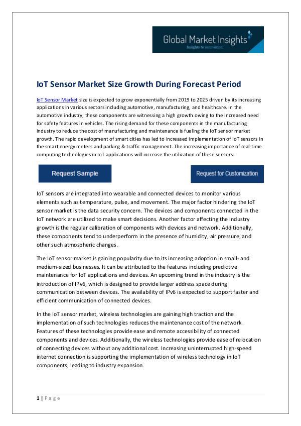 IoT Sensor Market Trends, Analysis & Forecast, 2019 – 2025 IoT Sensor Market