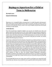Buying an Aquarium for a Child or Teen in Melbourne